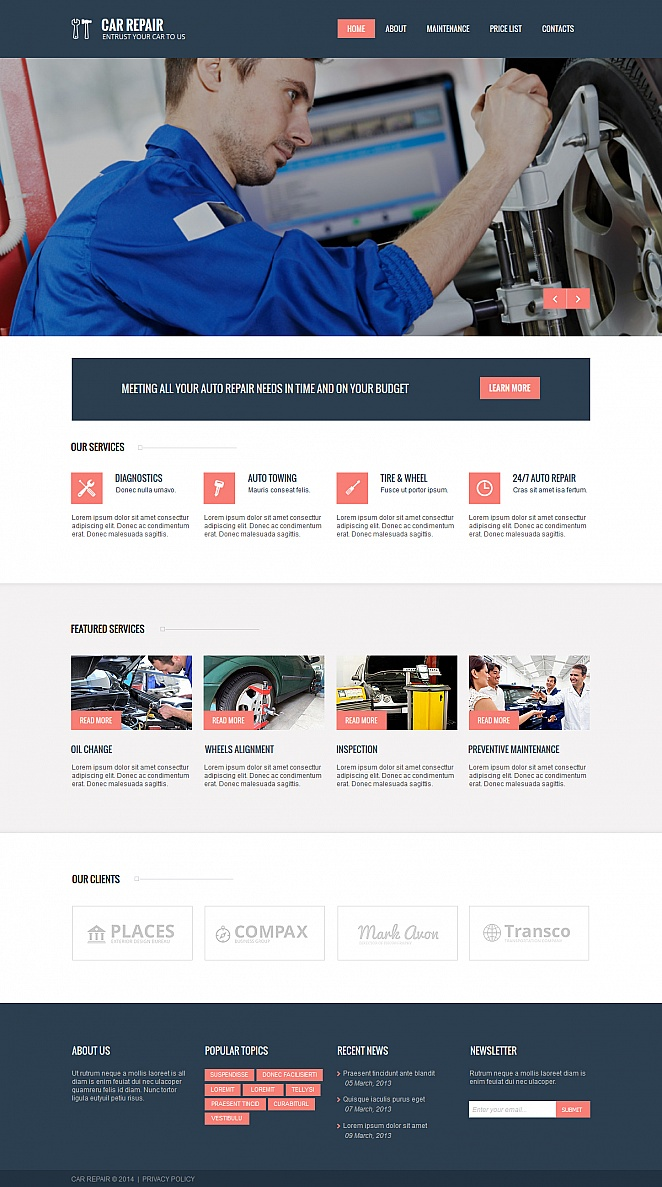 White Car Repairs Template with Dark Blue Header and Footer - image