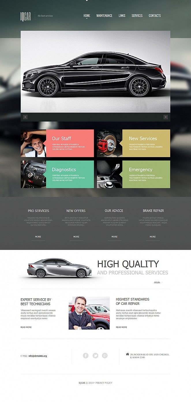 Auto Repair Website Template with Gray Header - image