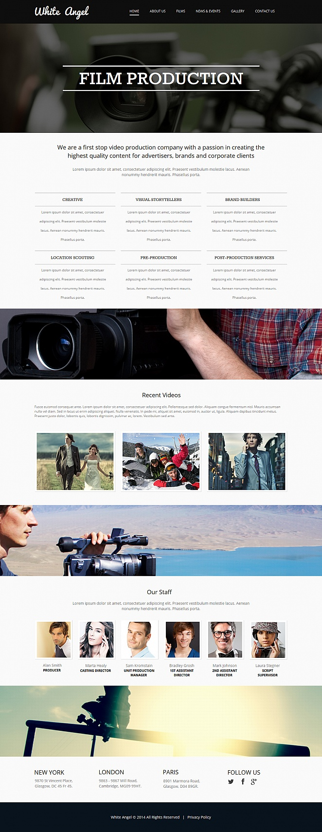 Film Production Website Template with Large Home Page Design - image