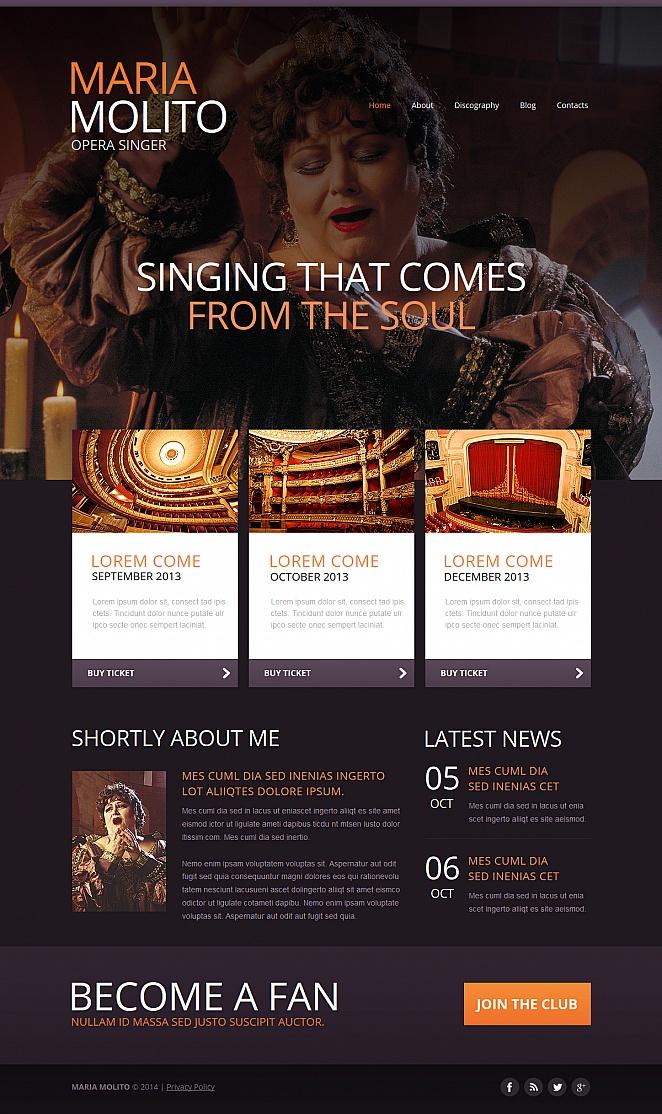 Szablon strony śpiewaka operowego z dużym zdjęciem w nagłówku - image