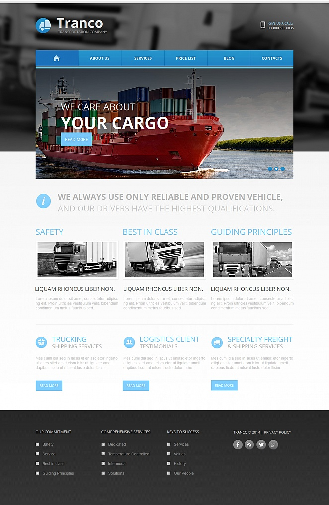 Transportation Website Template with Blurred Header Image - image