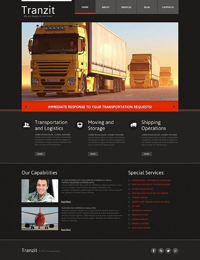 Szablon dla strony firmy transportowania ładunków - image