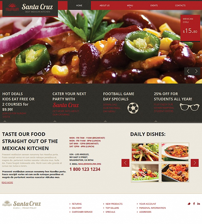 Mexican Cooking Website Template with Mouthwatering Food Photos - image
