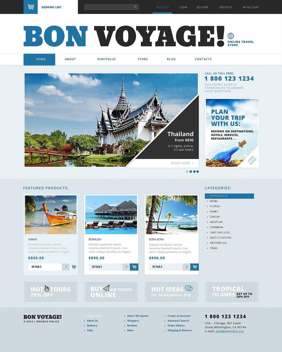Attractive Bon voyage Travel Agency Responsive Jigoshop Theme