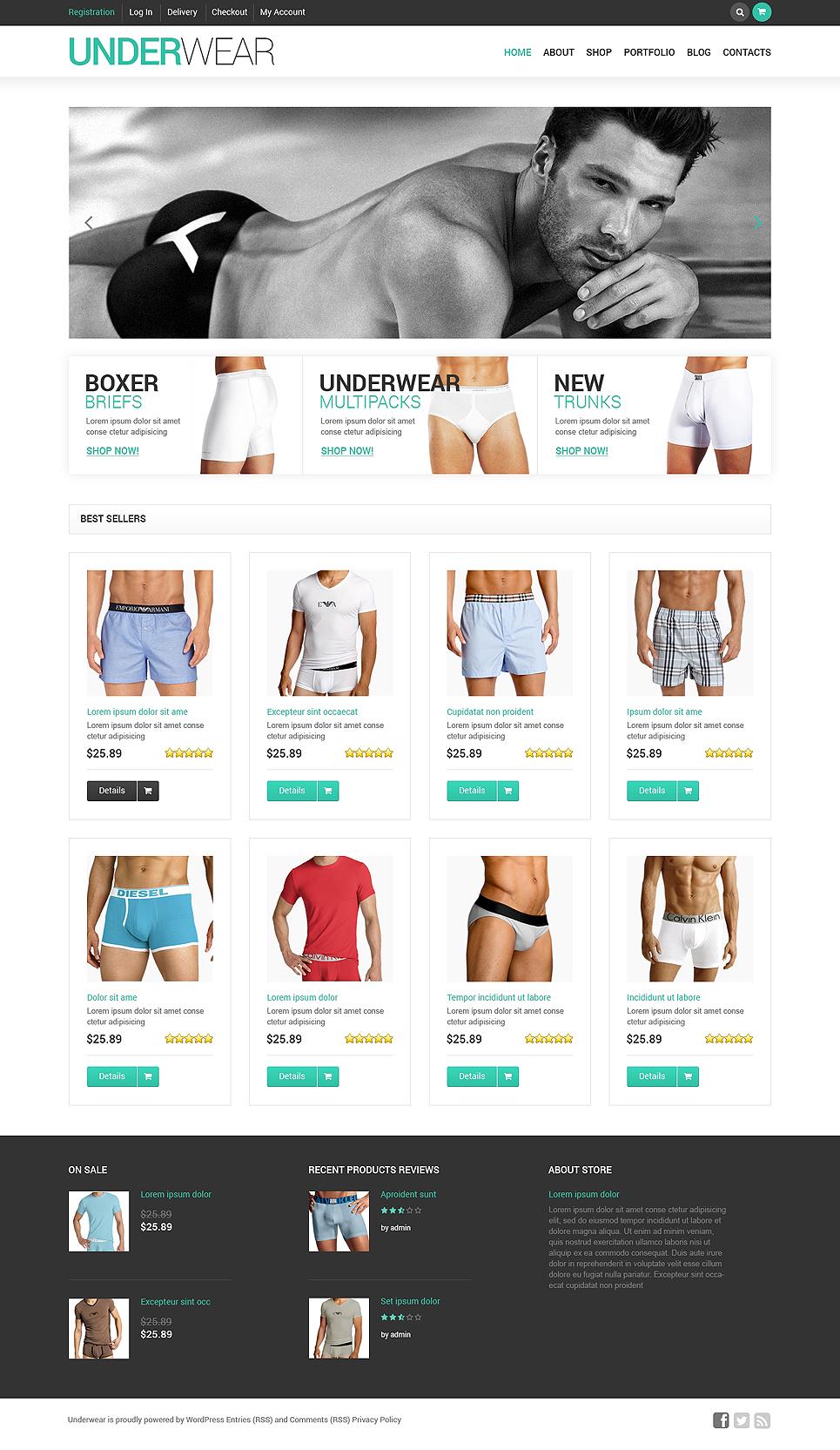 Elegant Men's Underwear Responsive Jigoshop Theme