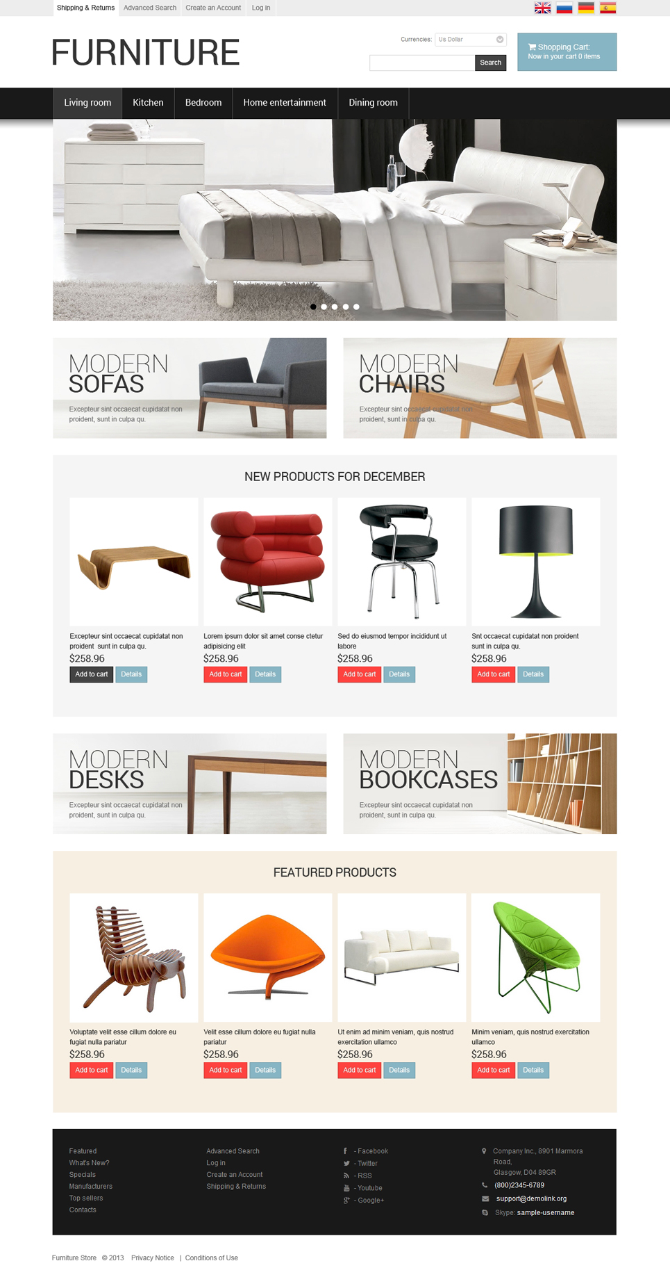 Clean White Template For Your Furniture Store OSCommerce Template