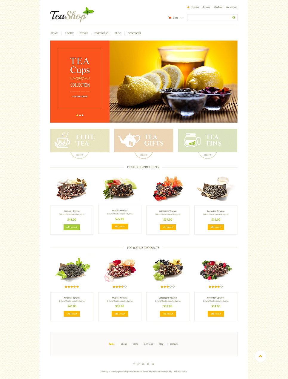 Tasty Tea Shop Responsive Jigoshop Theme