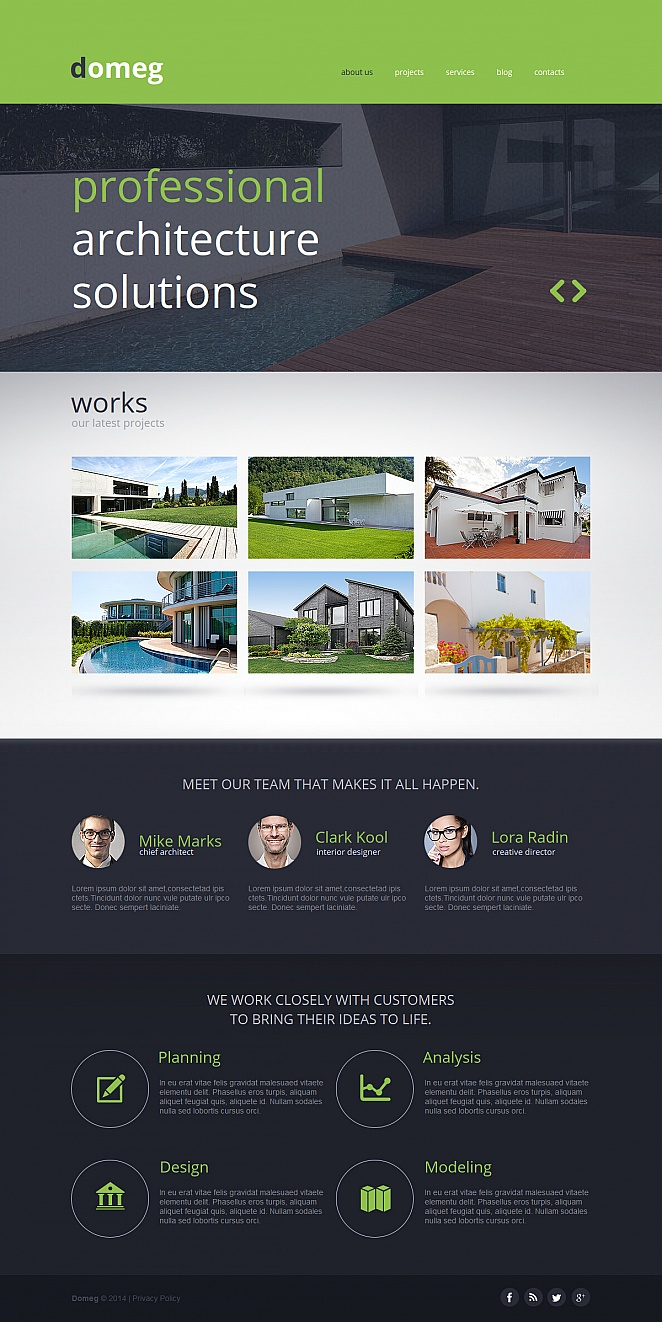 Flat Website Design with Photo Gallery for Architects - image