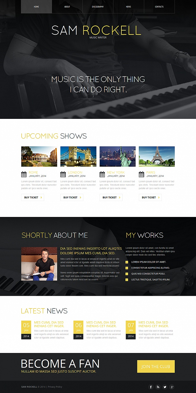 Website Template in Classic Color Scheme for Music Writers - image