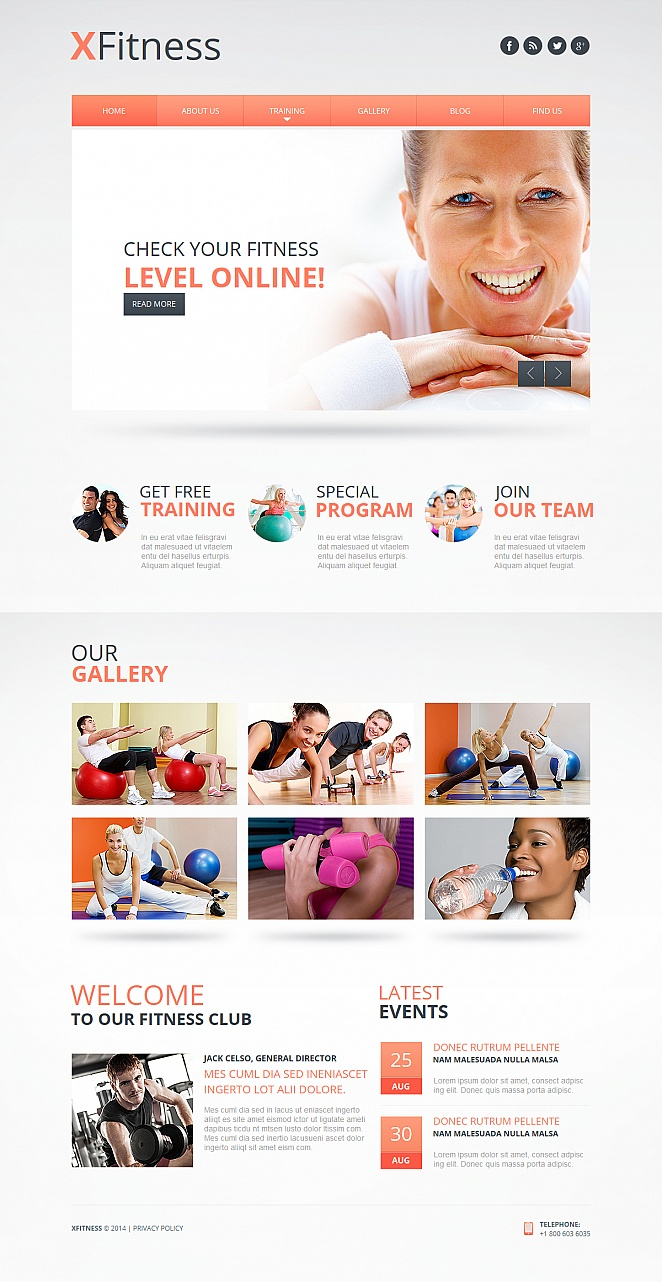 White Web Template with Peach Design Accents for Fitness Clubs - image