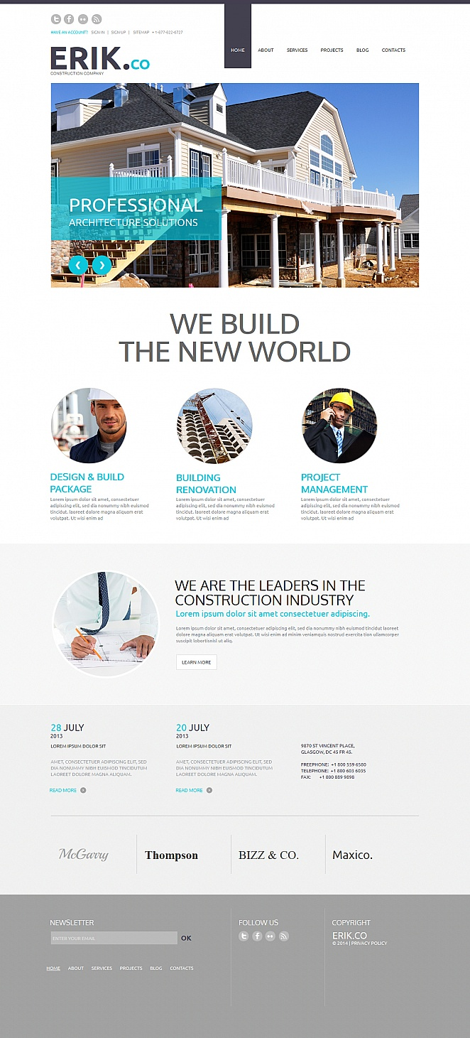 Construction Business Website Template with Round-Shaped Pictures - image