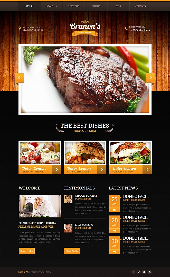 Steak House Website Template with Wood Header Background - image