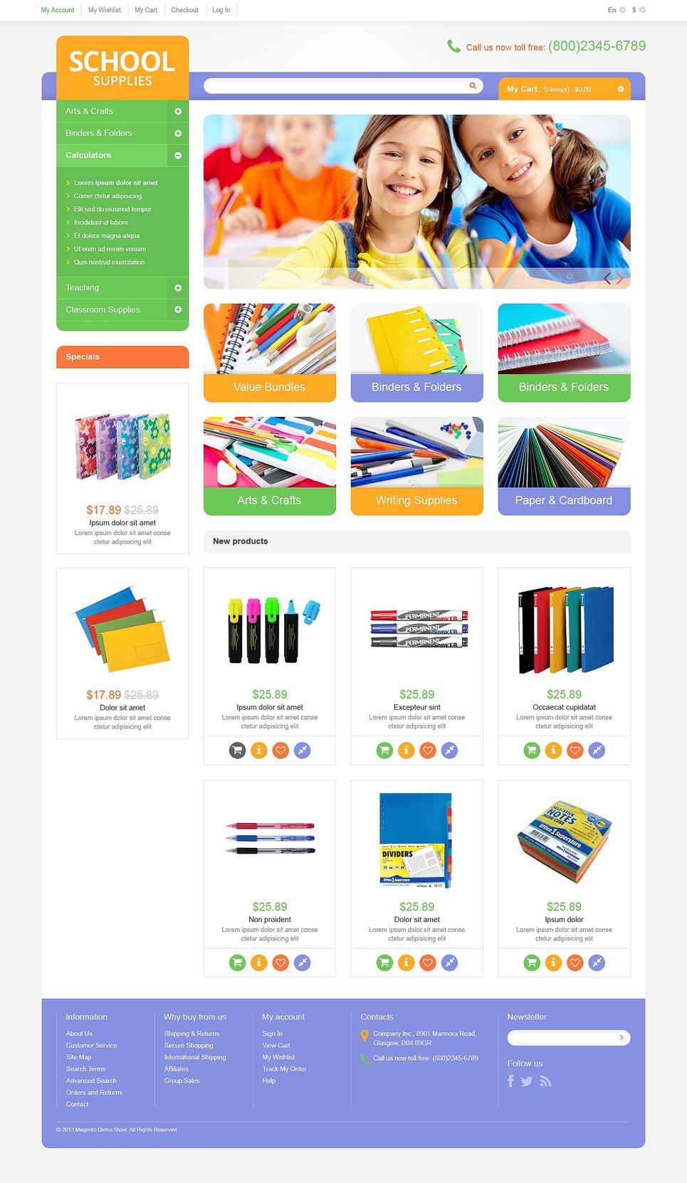 The Basic School Supplies Magento Theme