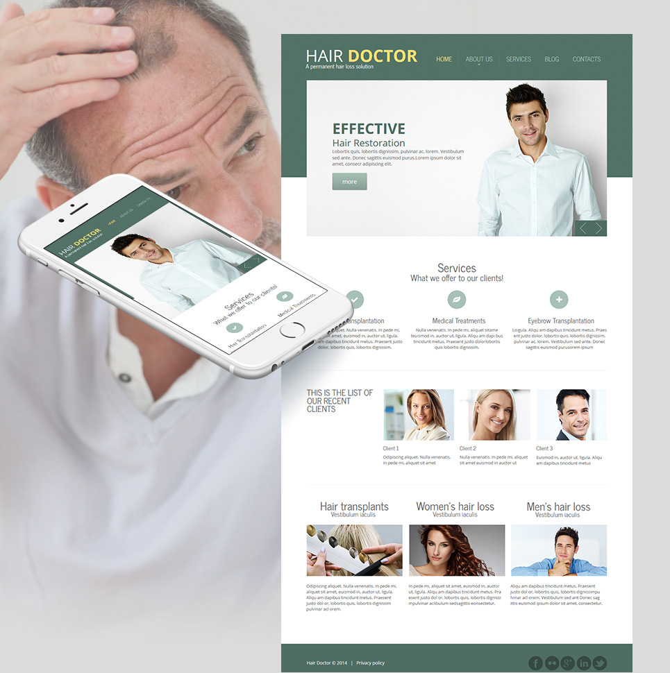 Hair Treatment Website Template Designed in Natural Green Color - image