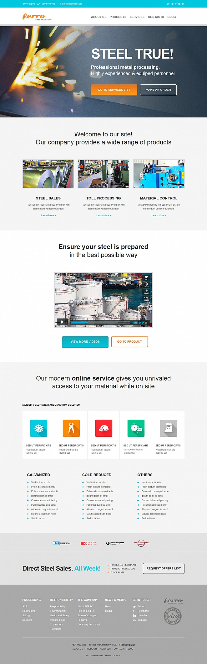 Steel Processing Website Template with Flat UI - image