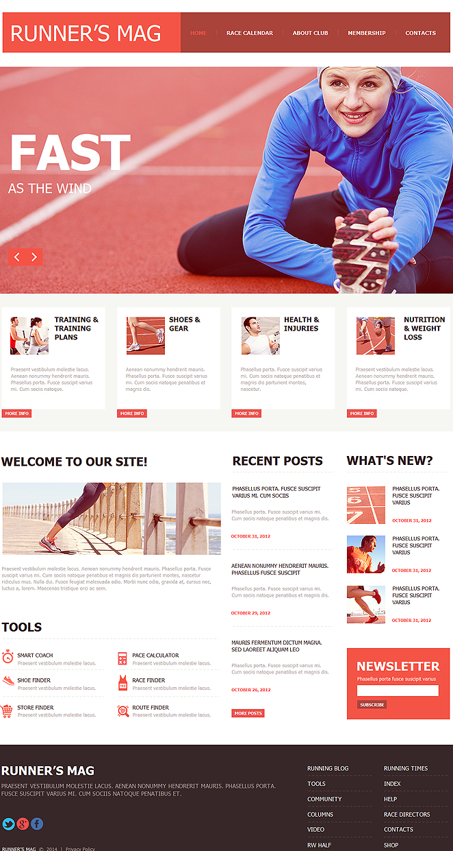 Sports Website Template with Large Google Calendar for Runners - image