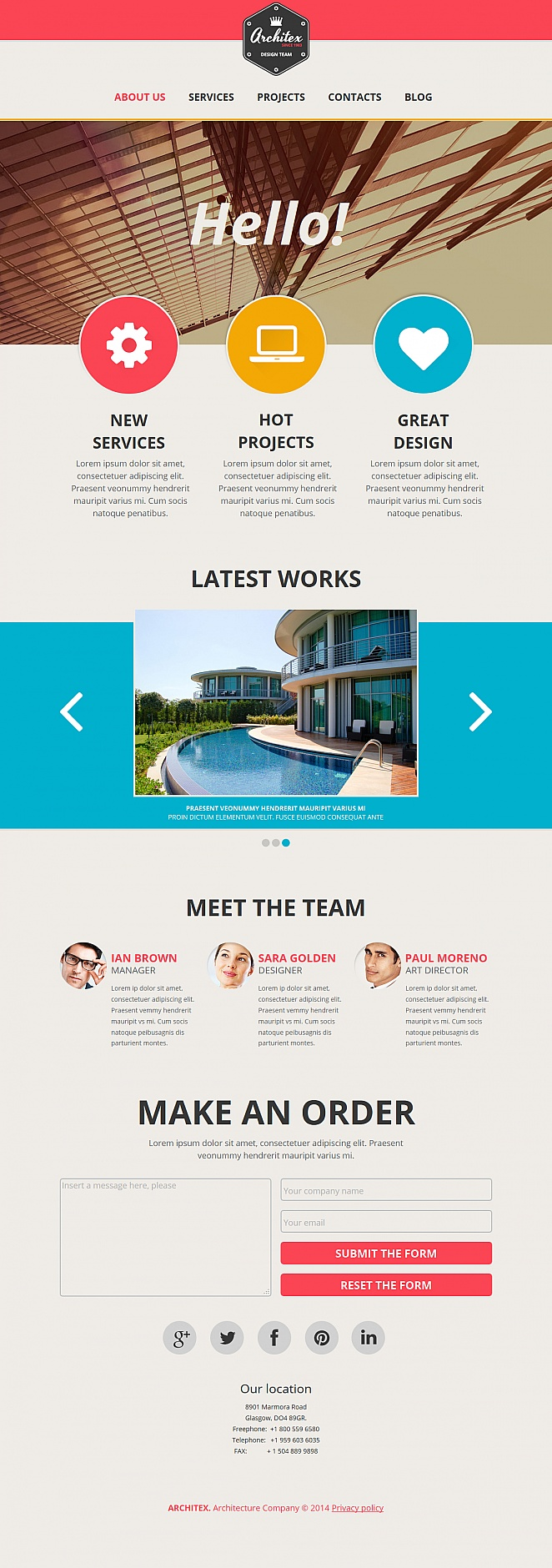 Flat Website Template with Photo Gallery for Architects and Designers - image