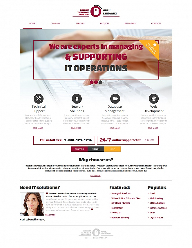 Webseiten-Vorlage für Beratungsleistungen