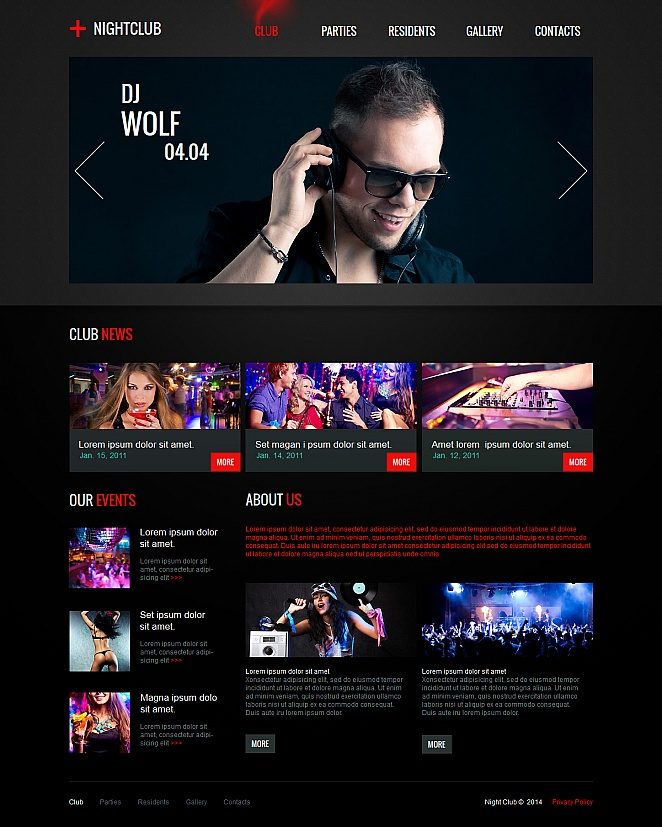 Black Website Template with Fiery Menu Tabs for Night Clubs - image