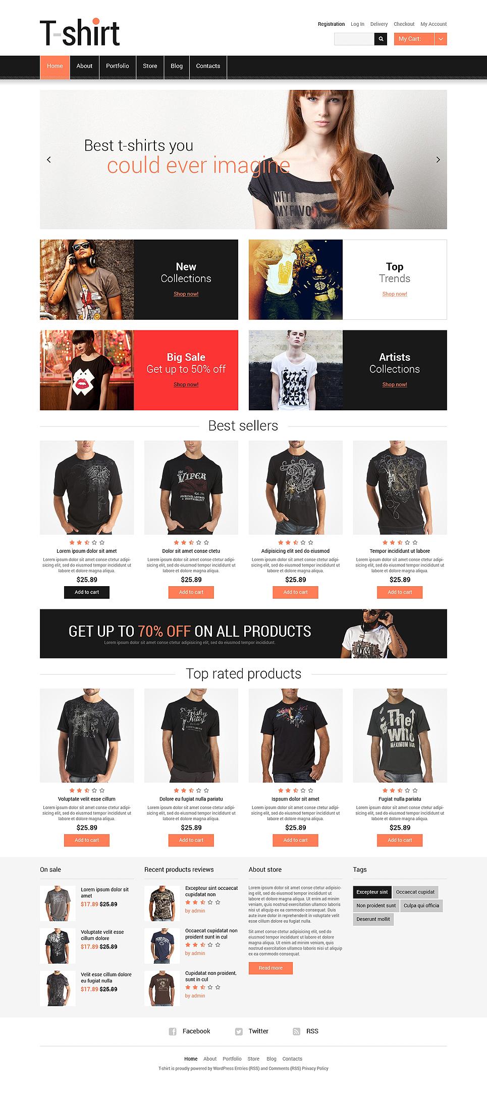Perfect T-shirt Shop Responsive Jigoshop Theme