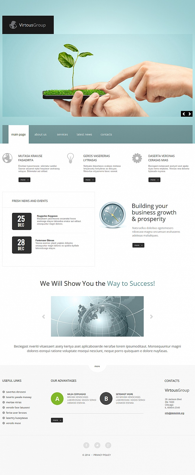 Professional Business Website Template with Blue Header - image