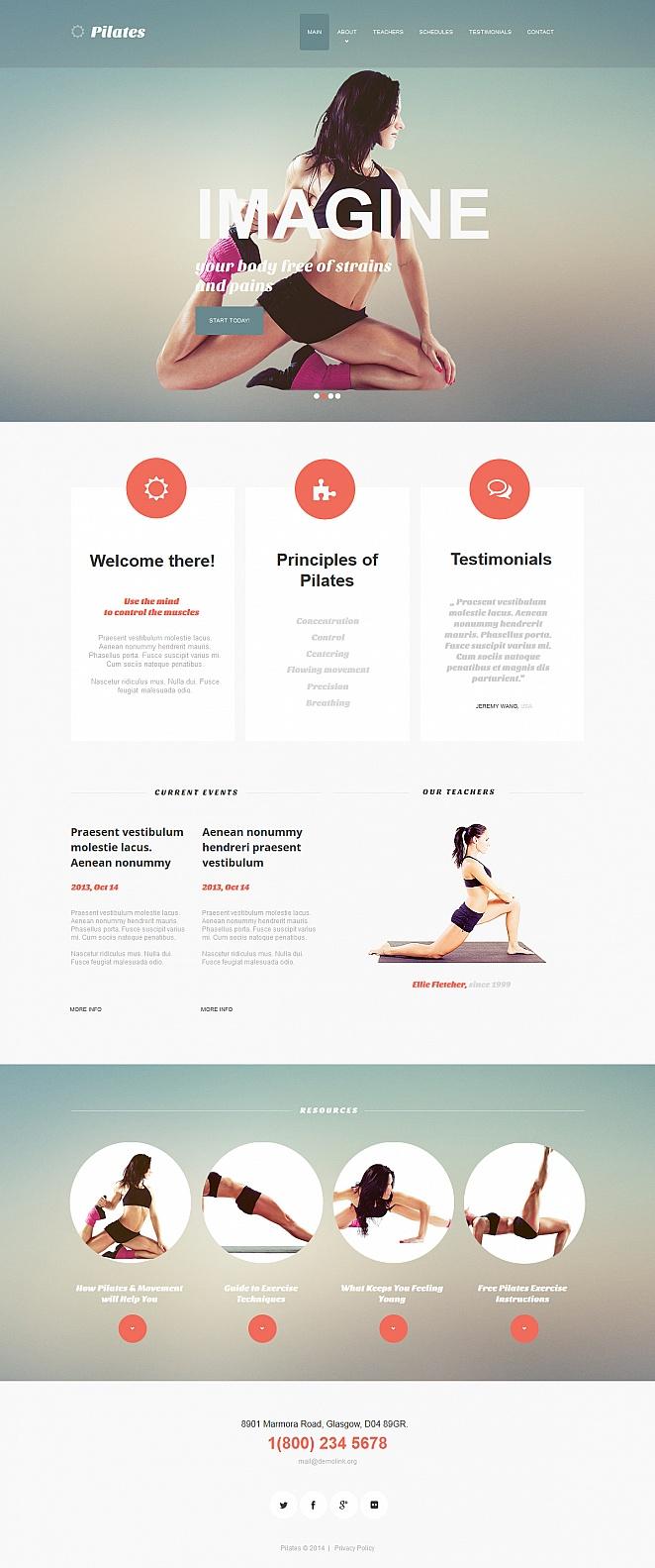Flat Website Template for Pilates Studios - image