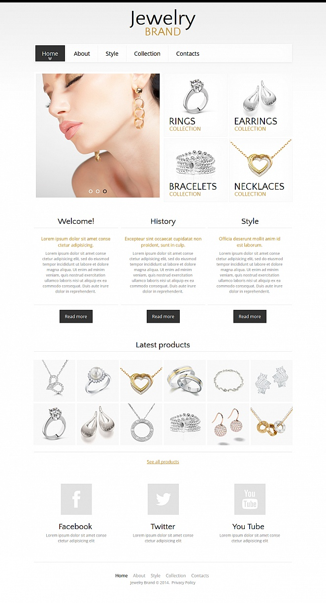 White Website Template with a Catalog for Jewelry Brands - image