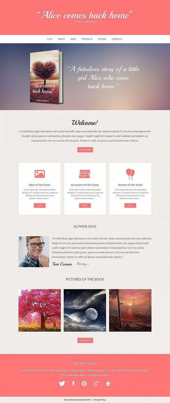 Flat Website Template for Book Authors - image