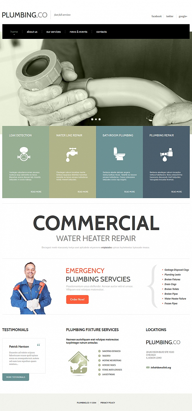 White Website Template with Home Page Image Slider for Plumbers - image