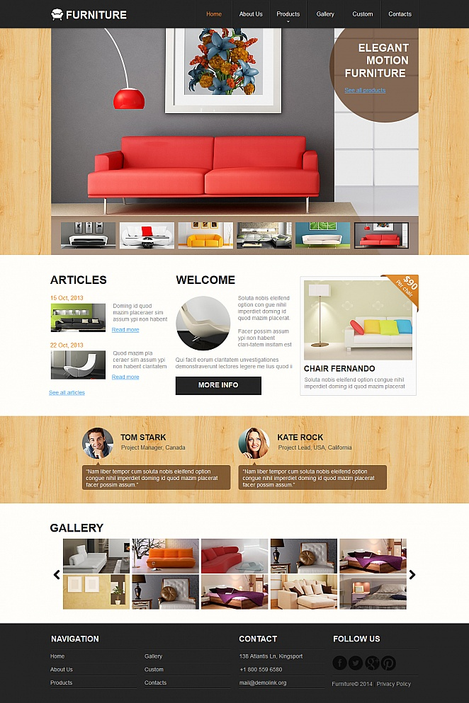 Black and White Furniture Template with Wooden Design Elements - image