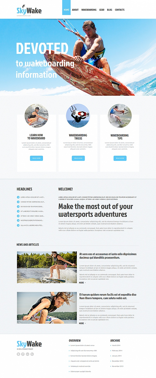 Wakeboarding Website Template with jQuery Image Gallery - image