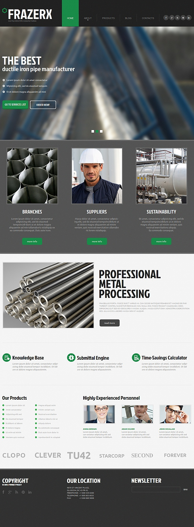 Iron Industry Website Template in Gray Color - image
