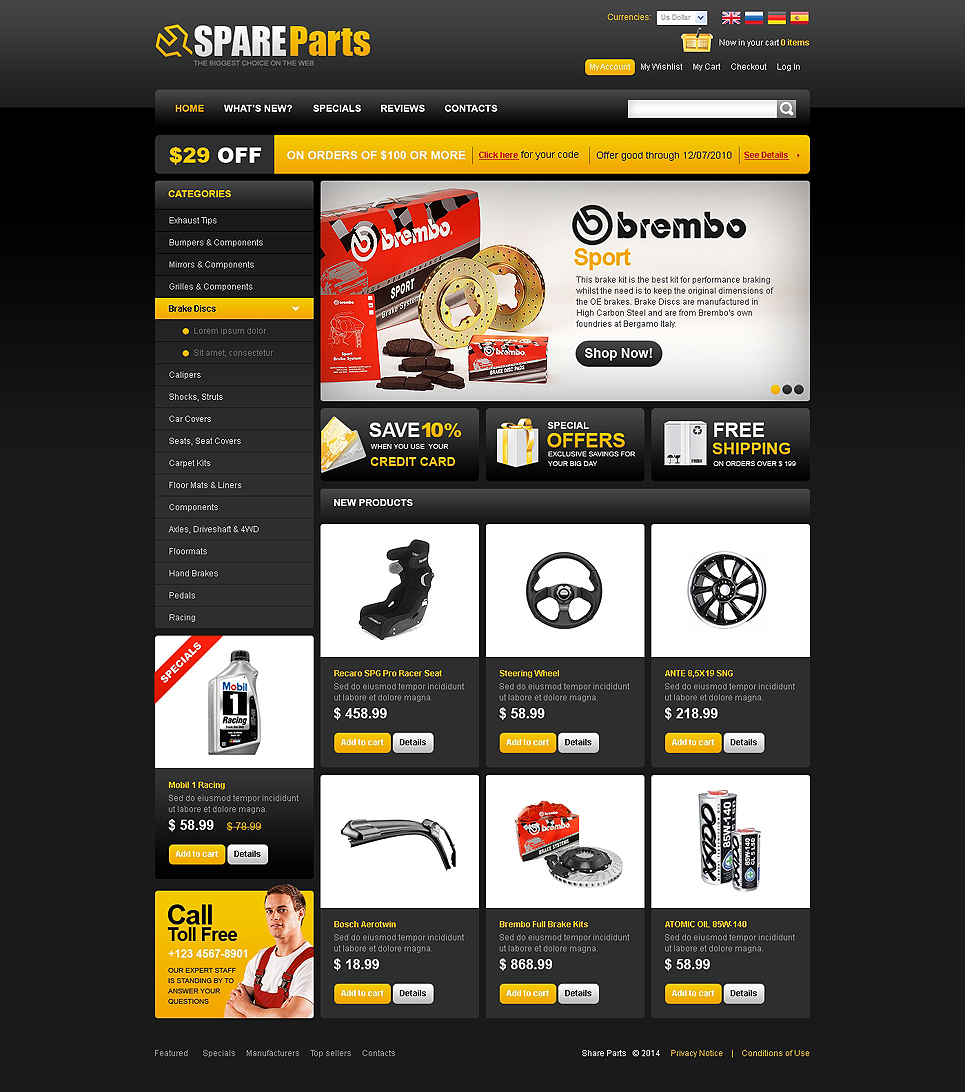 Auto Parts OsCommerce Template New Screenshots BIG