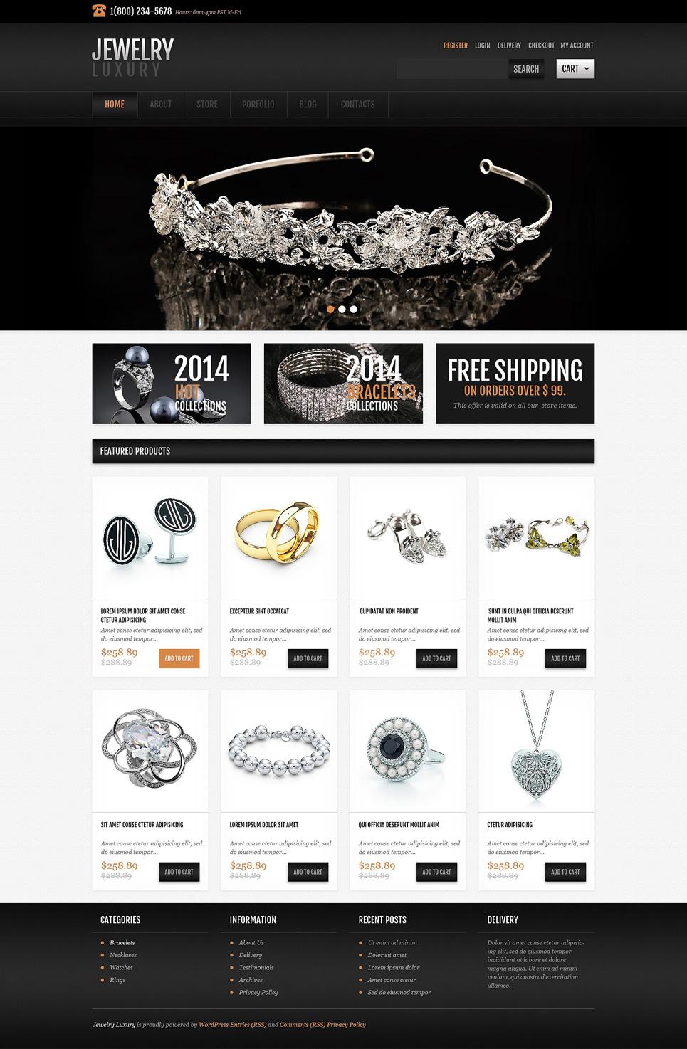 Glossy Jewellery Responsive JigoShop Theme