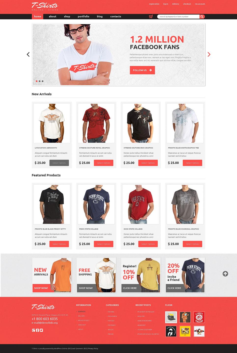 Wonderful T-shirt Shop Responsive Jigoshop Theme