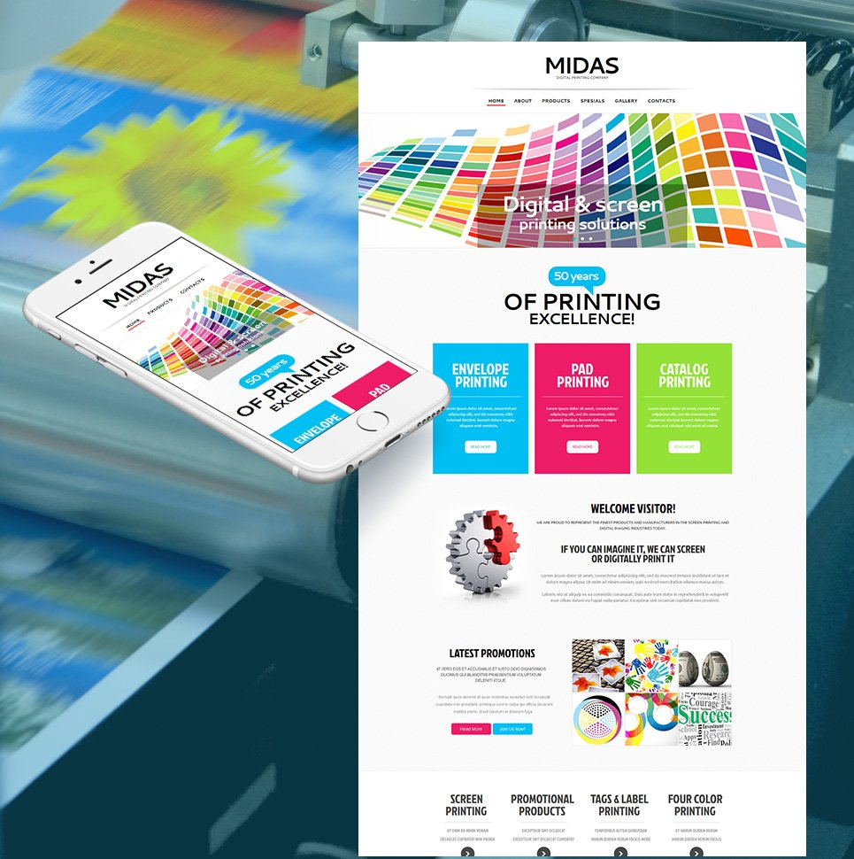 Digital Printing Website Template with Creative Design - image