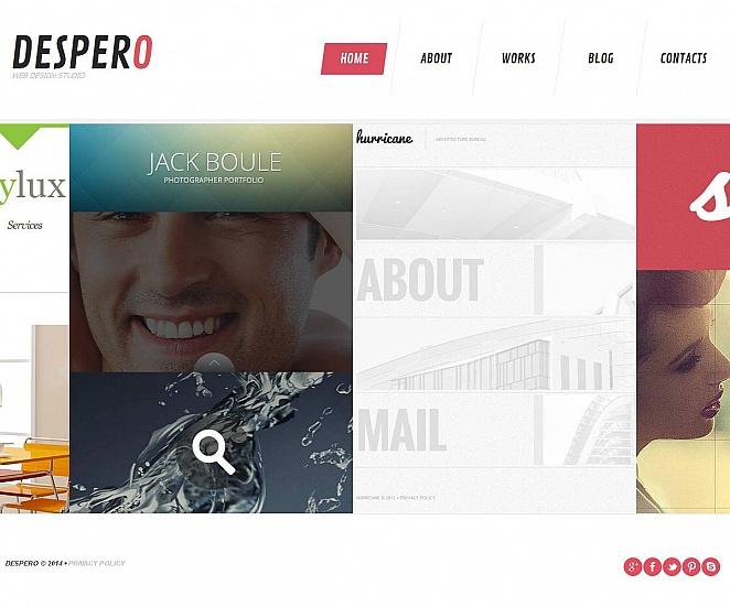 Flat Website Template with Sliding Gallery for Design Portfolios - image