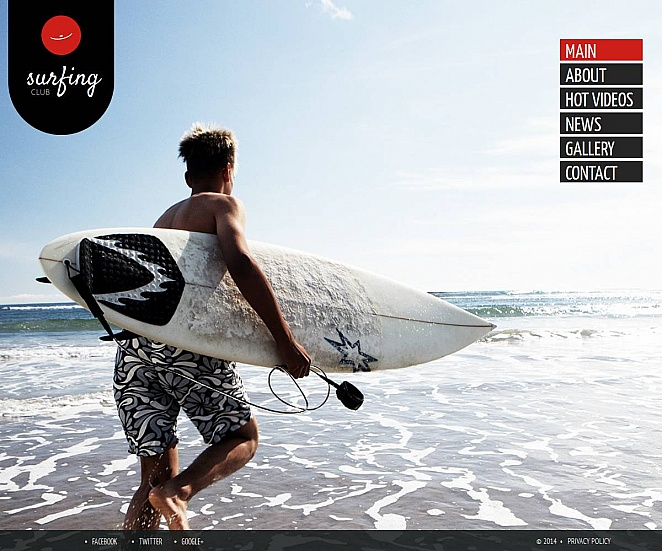 Surfing Web Template with Background Photo Gallery and Vertical Menu - image