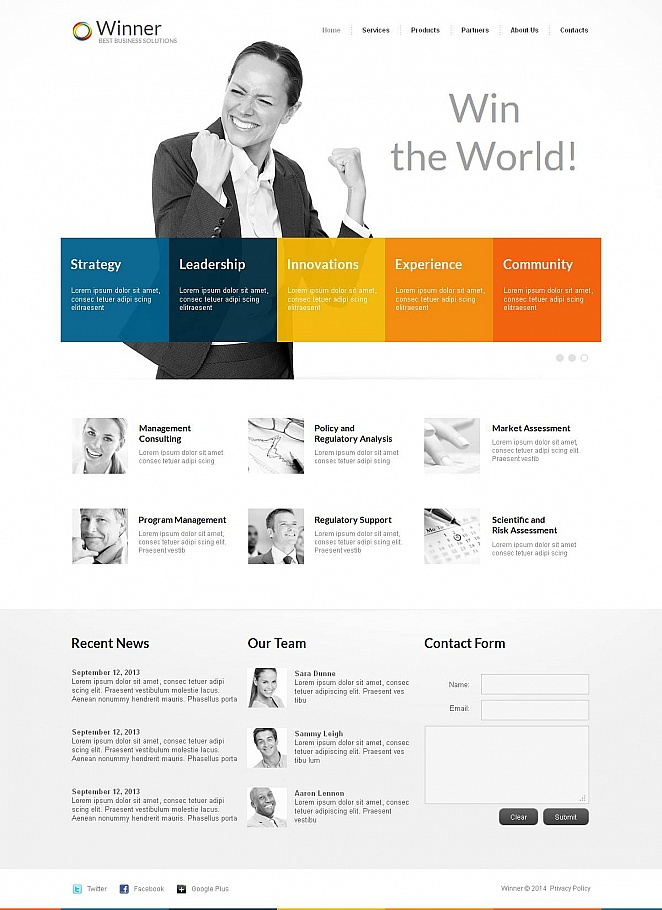 White Business Template with Varicolored Design Elements - image