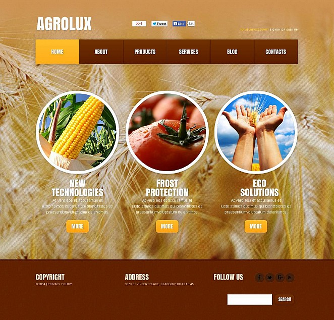 Agriculture Flash CMS Template