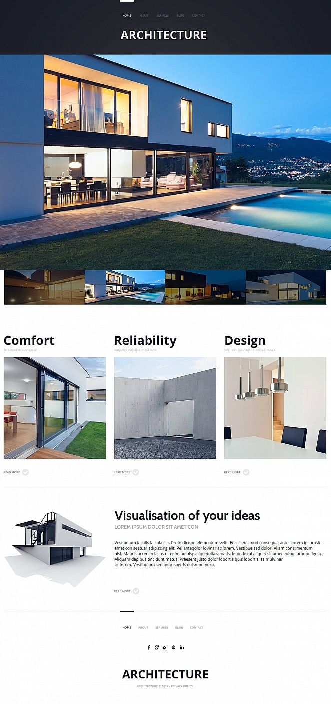 White Architecture Web Template with Vivid Imagery - image