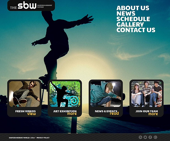 Skateboarding Website Template with Grid Photo Gallery - image
