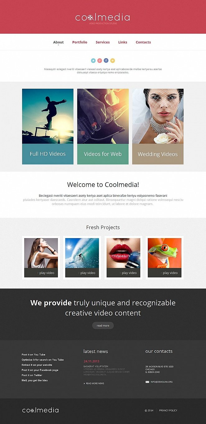 Video Production Website Template with Raspberry Pink Header - image