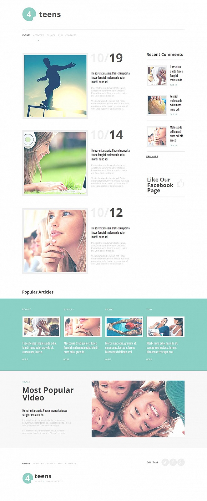 Flat Website Template for Teen Clubs - image