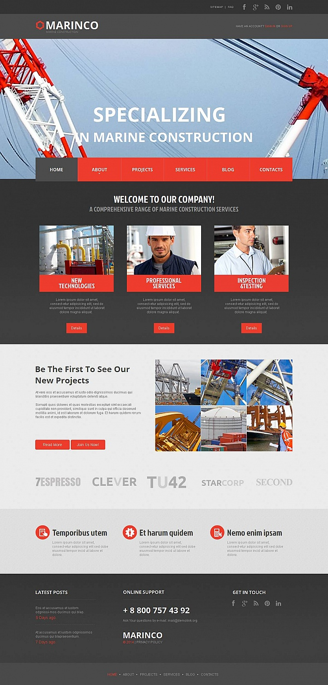 Marine Construction Website Template with CMS - image