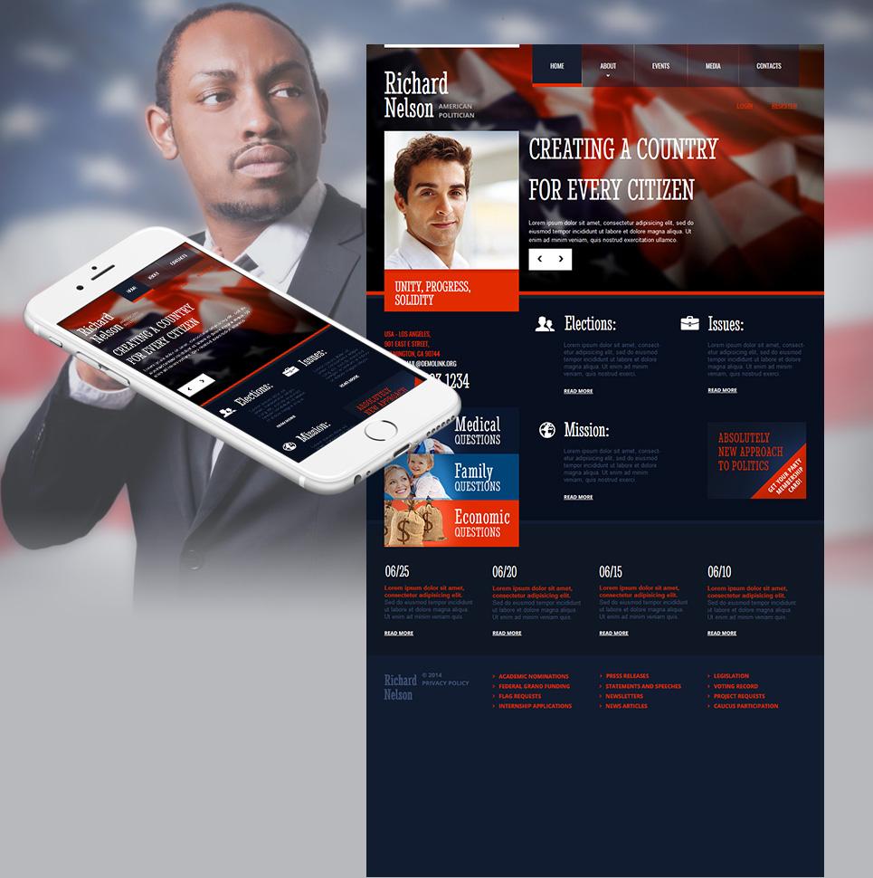 Persönliche Webseite mit dem Control Panel für eine Person des öffentlichen Lebens - image