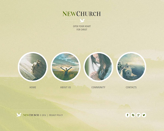 Church Template with Blurred Image Background and Circle Navigation - image