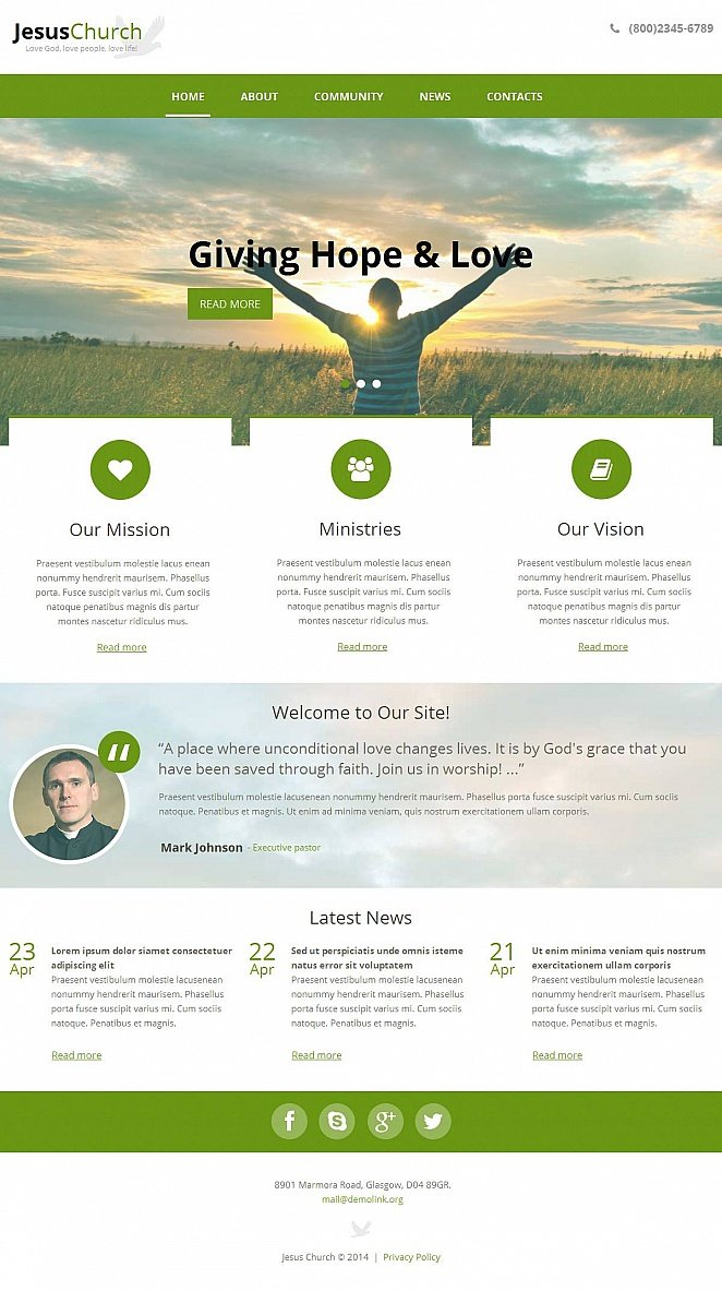 Church Website Template in White and Green Colors - image