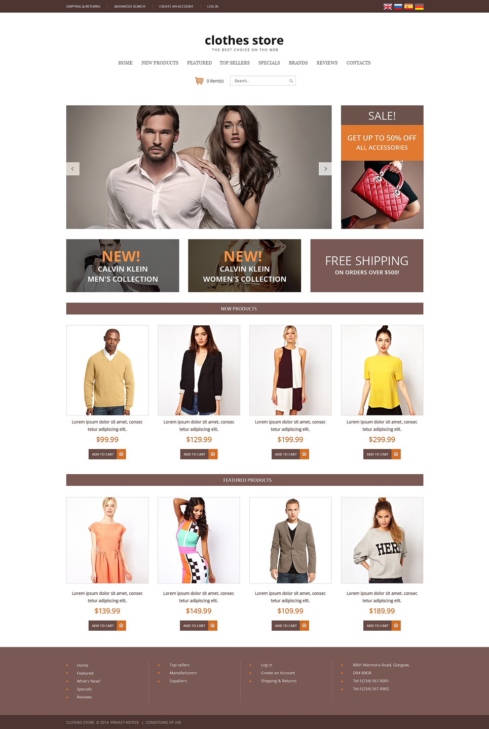 Cool Clothes Store OSCommerce Template Design