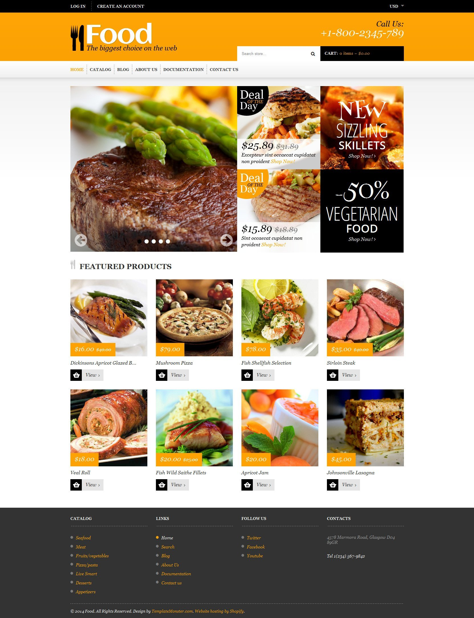 Food Store Responsive Shopify Theme #48535